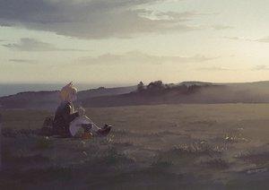 Rating: Safe Score: 45 Tags: animal_ears anthropomorphism azur_lane drink grass landscape rias-coast scenic sunset warspite_(azur_lane) User: FormX