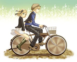 Rating: Safe Score: 23 Tags: bicycle kagamine_len kagamine_rin male tagme_(artist) vocaloid User: HawthorneKitty