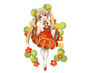Rating: Safe Score: 30 Tags: blonde_hair bow chinese_clothes chinese_dress dress flowers loli long_hair original pantyhose red_eyes signed twintails white yuma_(pixiv38148735) User: otaku_emmy