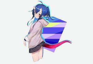 Rating: Safe Score: 36 Tags: blue_hair blush gray hoodie horns orange_eyes original pointed_ears ponytail ryou_(ponpgo) skirt tail User: otaku_emmy