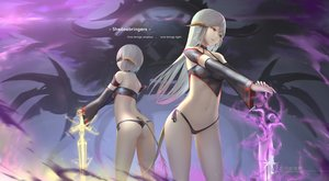 Rating: Safe Score: 58 Tags: 2girls ass au_ra blindfold final_fantasy final_fantasy_xiv gray_hair hc horns long_hair navel short_hair sword tail watermark weapon yellow_eyes User: BattlequeenYume