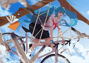 Rating: Safe Score: 50 Tags: animal bicycle bird book clouds hatsune_miku kneehighs seifuku sky tears vocaloid xiayu93 User: FormX