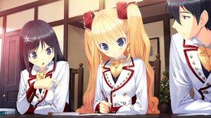 Rating: Safe Score: 34 Tags: black_hair blonde_hair furumiya_elis game_cg mizushima_hyouko nanatsu_no_fushigi_no_owarutoki school_uniform twintails ueda_ryou User: Maboroshi
