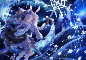 Rating: Safe Score: 50 Tags: 2girls animal_ears bow building bunny_ears gloves gray_hair hat long_hair lushuao original ponytail red_eyes scarf staff wink winter yellow_eyes User: BattlequeenYume