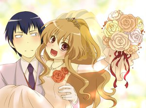 Rating: Safe Score: 16 Tags: aisaka_taiga takasu_ryuuji toradora wedding_attire User: HawthorneKitty