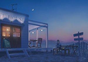 Rating: Safe Score: 46 Tags: beach building moon night original scenic short_hair shorts signed sunset tamaki_(tamaki_illust) User: mattiasc02