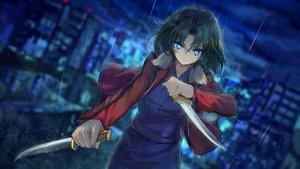 Rating: Safe Score: 90 Tags: aqua_eyes black_hair fate/grand_order fate_(series) haraguroi_you kara_no_kyoukai knife rain ryougi_shiki short_hair water User: RyuZU