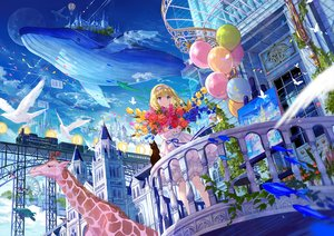 Rating: Safe Score: 92 Tags: animal aqua_eyes blonde_hair bloomers bow building butterfly cat city clouds dress fish flowers fuji_choko headband leaves moon original penguin ribbons see_through short_hair sky train turtle User: otaku_emmy