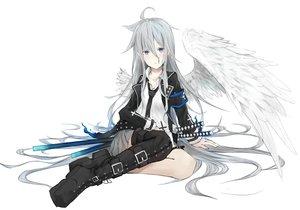 Rating: Safe Score: 54 Tags: agehachou_tsukushi boots cross gray_eyes gray_hair katana long_hair original shirt skirt sword thighhighs tie weapon white wings User: SciFi