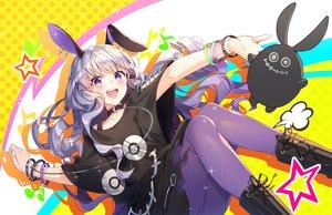Rating: Safe Score: 63 Tags: animal_ears blush boots bunny_ears bunnygirl collar gray_hair kurousagi_uru kurousagi_uru_-virtual- long_hair nonomaro skirt wristwear User: BattlequeenYume
