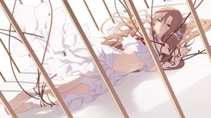 Rating: Safe Score: 142 Tags: barefoot brown_eyes brown_hair cage cait dress long_hair navel pointed_ears ribbons rope sword_art_online yuuki_asuna User: ssagwp