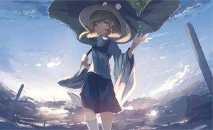 Rating: Safe Score: 31 Tags: clouds mifuru moriya_suwako short_hair skirt sky thighhighs touhou User: RyuZU