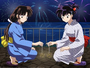 Rating: Safe Score: 45 Tags: 2girls black_hair bow brown_eyes brown_hair fireworks higurashi_kagome inuyasha japanese_clothes long_hair ponytail sango sky summer vector water yukata User: Oyashiro-sama