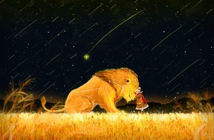 Rating: Safe Score: 39 Tags: animal ao_(aohari) lion original polychromatic scarf stars User: FormX