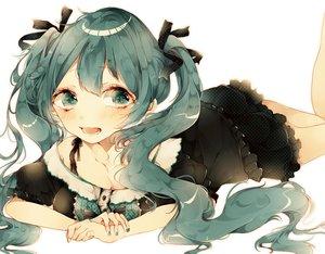 Rating: Safe Score: 25 Tags: aqua_eyes aqua_hair hatsune_miku tagme_(artist) twintails vocaloid User: humanpinka