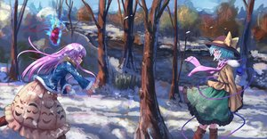 Rating: Safe Score: 37 Tags: aqua_eyes aqua_hair boots forest hat hata_no_kokoro komeiji_koishi long_hair mask pink_eyes pink_hair roke_(taikodon) scarf short_hair snow touhou tree User: RyuZU