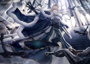 Rating: Safe Score: 69 Tags: animal armor artoria_pendragon_(all) bird blonde_hair braids cape fate/grand_order fate_(series) feathers junpaku_karen lancelot_(fate) merlin_(fate/grand_order) mordred saber short_hair stairs sword weapon User: BattlequeenYume