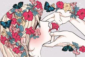 Rating: Safe Score: 44 Tags: blonde_hair blue_eyes butterfly close flowers long_hair original tagme_(artist) User: otaku_emmy