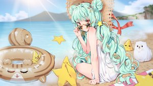 Rating: Safe Score: 96 Tags: agnamore animal aqua_hair beach clouds dog dress hat long_hair original red_eyes sky summer_dress sunglasses swim_ring twintails waifu2x water User: BattlequeenYume