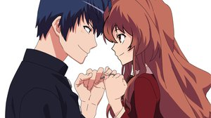Rating: Safe Score: 55 Tags: aisaka_taiga black_hair brown_hair long_hair male orange_eyes short_hair takasu_ryuuji toradora white User: 秀悟