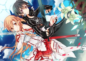 Rating: Safe Score: 154 Tags: armor black_hair clouds flowers kirigaya_kazuto kureaki_(exit) long_hair male short_hair sky sword sword_art_online weapon yuuki_asuna User: C4R10Z123GT
