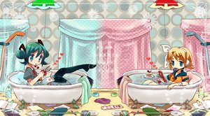 Rating: Safe Score: 28 Tags: aqua_hair bath bathtub blonde_hair blue_eyes book bow cake cherry food fruit hatsune_miku headphones ichihaya kagamine_rin phone short_hair socks thighhighs twintails vocaloid water User: MissBMoon