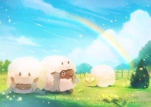 Rating: Safe Score: 22 Tags: animal clouds grass manino_(mofuritaionaka) nobody pokemon rainbow scenic sheep signed sky sleeping wooloo yamper User: otaku_emmy