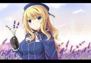 Rating: Safe Score: 31 Tags: anthropomorphism atago_(kancolle) blonde_hair blue_eyes choker close flowers gloves hat kantai_collection long_hair mizunashi_kenichi User: Flandre93