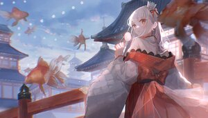 Rating: Safe Score: 43 Tags: animal building clouds crown fish gray_hair japanese_clothes long_hair original oyuyu red_eyes sky User: BattlequeenYume