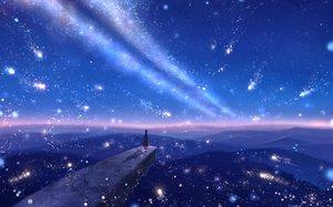 Rating: Safe Score: 44 Tags: bou_nin cape clouds dress landscape original polychromatic scenic short_hair sky staff stars sunset User: mattiasc02