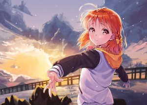Rating: Safe Score: 47 Tags: blush braids clouds hoodie love_live!_school_idol_project love_live!_sunshine!! orange_hair pink_eyes siro_joon sky sunset takami_chika User: BattlequeenYume
