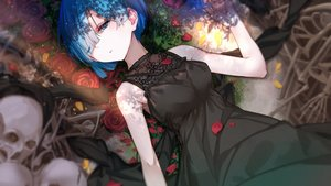 Rating: Safe Score: 82 Tags: blue_eyes blue_hair dress flowers rem_(re:zero) re:zero_kara_hajimeru_isekai_seikatsu rose short_hair skull wink ziran_juan User: BattlequeenYume