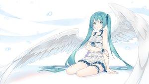 Rating: Safe Score: 190 Tags: aqua_eyes aqua_hair choker dress fhang garter hatsune_miku long_hair summer_dress twintails vocaloid white wings wristwear User: RyuZU