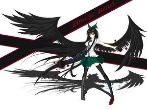 Rating: Safe Score: 95 Tags: black_hair bow gmot long_hair red_eyes reiuji_utsuho thighhighs touhou weapon white wings User: Balmung60