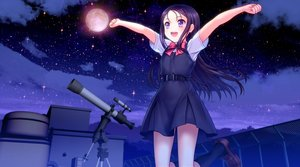 Rating: Safe Score: 101 Tags: black_hair charlotte clouds jpeg_artifacts kneehighs long_hair moon moonknives night otosaka_ayumi purple_eyes rooftop school_uniform sky stars User: gnarf1975