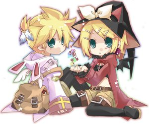 Rating: Safe Score: 55 Tags: angel animal_ears aqua_eyes blonde_hair bow bunny_ears feathers hat hekicha hoodie kagamine_len kagamine_rin male red short_hair vocaloid white wings witch_hat User: HawthorneKitty