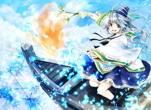 Rating: Safe Score: 81 Tags: boat fire gray_eyes gray_hair hat makuwauri mononobe_no_futo ponytail touhou water User: SciFi