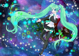 Rating: Safe Score: 30 Tags: hatsune_miku space stars twintails vocaloid User: HawthorneKitty