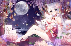 Rating: Safe Score: 69 Tags: animal_ears applecaramel_(acaramel) bell blue_eyes breasts cleavage doll flowers foxgirl japanese_clothes long_hair moon multiple_tails original tail white_hair User: BattlequeenYume