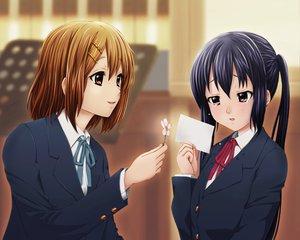 Rating: Safe Score: 34 Tags: 2girls flowers hirasawa_yui k-on! nakano_azusa school_uniform yume_robo User: HawthorneKitty