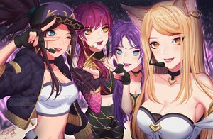 Rating: Safe Score: 46 Tags: ahri_(league_of_legends) akali animal_ears blonde_hair blue_eyes breasts choker cleavage evelynn foxgirl gloves group hat kai'sa league_of_legends long_hair microphone ponytail saphirya short_hair signed sunglasses watermark yellow_eyes User: sadodere-chan
