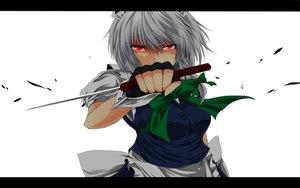 Rating: Safe Score: 95 Tags: bow braids gloves gray_hair izayoi_sakuya knife maid nekominase red_eyes touhou weapon white User: STORM