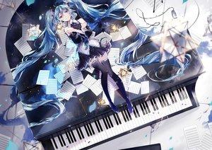 Rating: Safe Score: 52 Tags: amatsukiryoyu aqua_eyes aqua_hair hatsune_miku instrument long_hair paper piano thighhighs tie twintails vocaloid zettai_ryouiki User: sadodere-chan