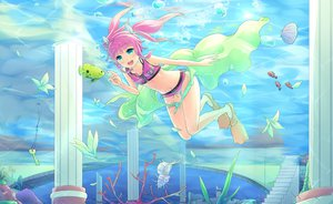 Rating: Safe Score: 89 Tags: animal bikini blue_eyes bow bubbles fish flowers navel pink_hair sakakidani stairs swimsuit twintails umi_monogatari underwater urin_(umi_monogatari) water User: FormX