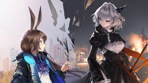 Rating: Safe Score: 60 Tags: 2girls amiya_(arknights) animal_ears arknights blue_eyes brown_hair building charles_(106858) city fire goth-loli gray_hair lolita_fashion long_hair short_hair talulah_(arknights) User: BattlequeenYume