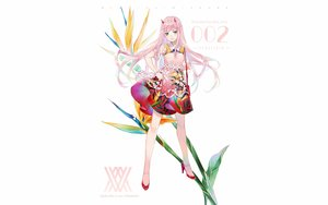Rating: Safe Score: 72 Tags: darling_in_the_franxx dress ekita_xuan flowers green_eyes horns pink_hair watermark white wristwear zero_two User: RyuZU
