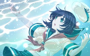 Rating: Safe Score: 69 Tags: black_hair blue_eyes hat murasa_minamitsu shirane_koitsu short_hair touhou underwater water User: SonicBlue