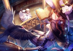 Rating: Safe Score: 118 Tags: 2girls animal bird book braids brown_hair cape dress flowers garter_belt green_eyes hat itsia long_hair pointed_ears ponytail thighhighs witch witch_hat User: BattlequeenYume