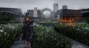 Rating: Safe Score: 74 Tags: brown_hair building city dark dress flowers hoodie landscape lm7_(op-center) long_hair orange_eyes original scenic sky wand User: luckyluna
