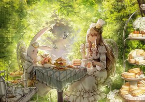 Rating: Safe Score: 110 Tags: animal brown_eyes brown_hair butterfly cake corset dress drink flowers food gloves hat leaves leclle lolita_fashion long_hair original rabbit User: Flandre93